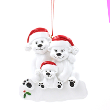 Polar Bear Family Of 9 Personalized Christmas Tree Ornament