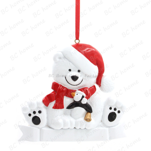 Bear With Penguin Personalized Christmas Tree Ornament