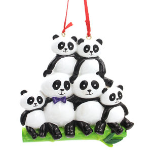 Panda Family Of 6 Personalized Christmas Tree Ornament
