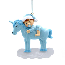 Baby With Unicorn Personalized Christmas Tree Ornament