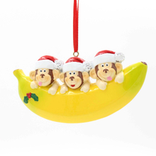 Monkey Family Of 6 Personalized Christmas Tree Ornament