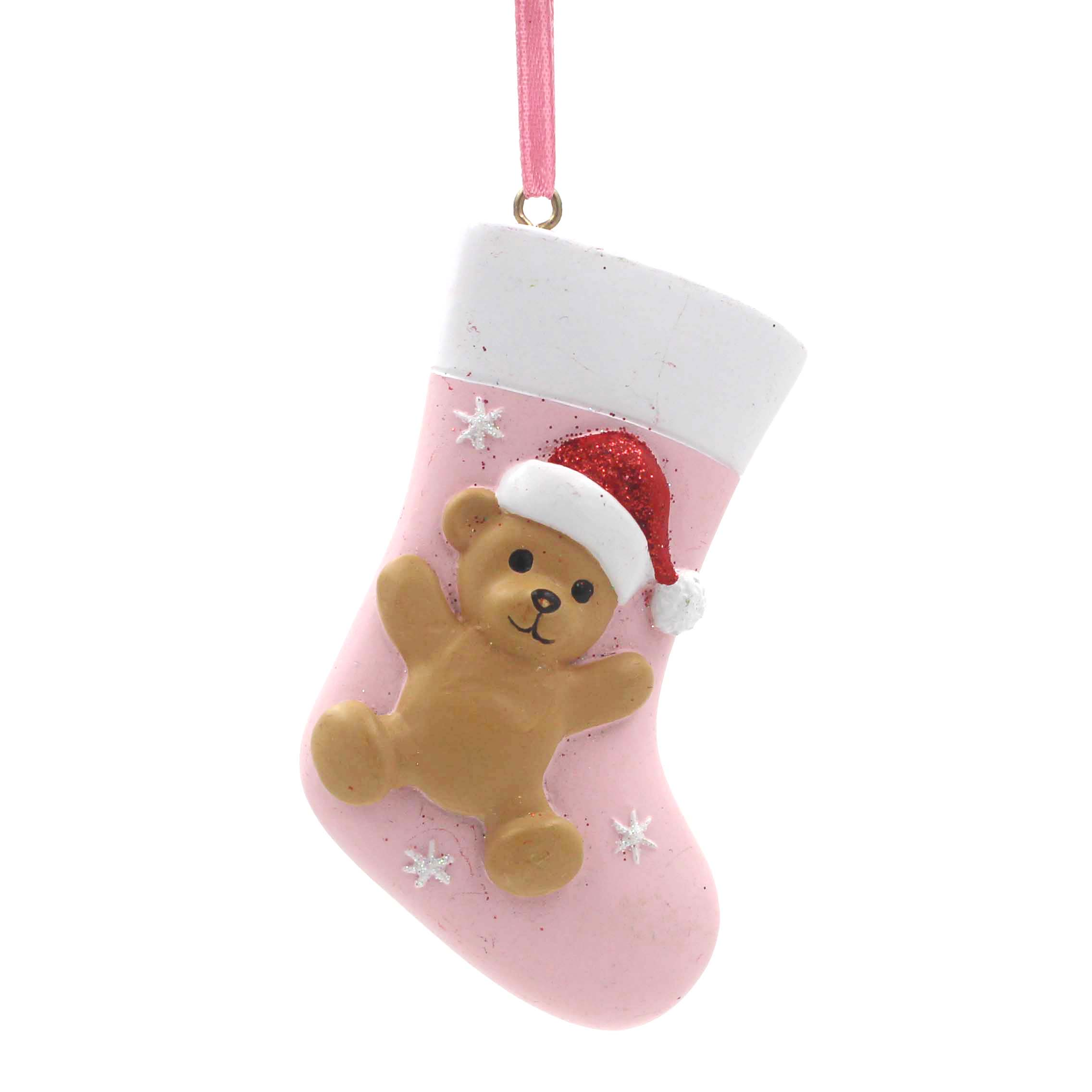 Baby Stocking With Bear Ornament Personalized Christmas Tree Ornament