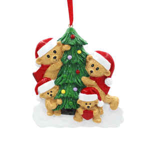 Bear Family Of 6 personalized Christmas Tree Ornament