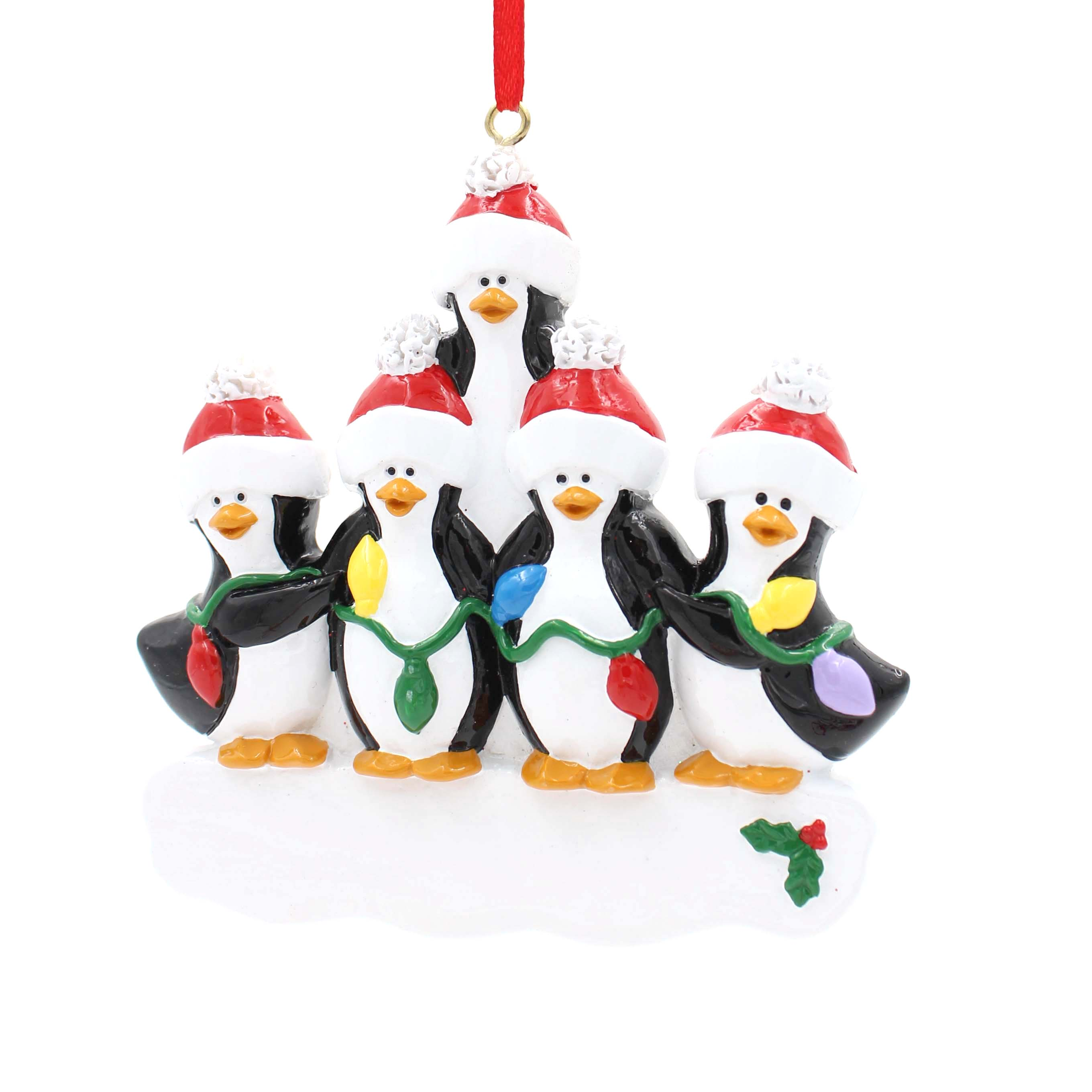 Singing Penguin Family Of 8 Personalized Christmas Tree Ornament