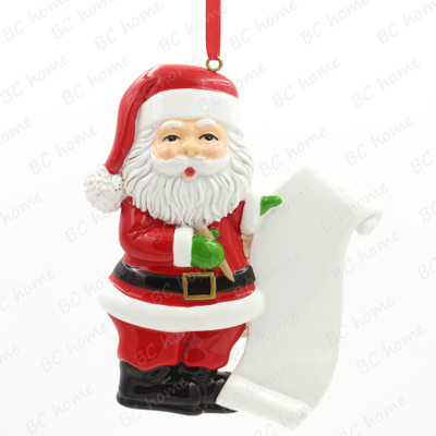 Santa Claus With List Personalized Christmas Tree Ornament