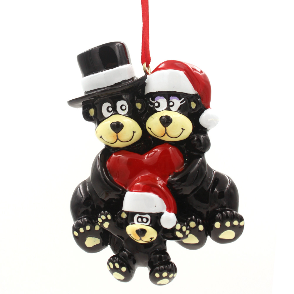 Black Bear Family of 6 Personalized Christmas Tree Ornament